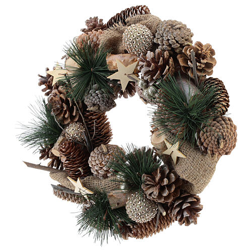 Christmas wreath with golden glitter and stars 32 cm 3
