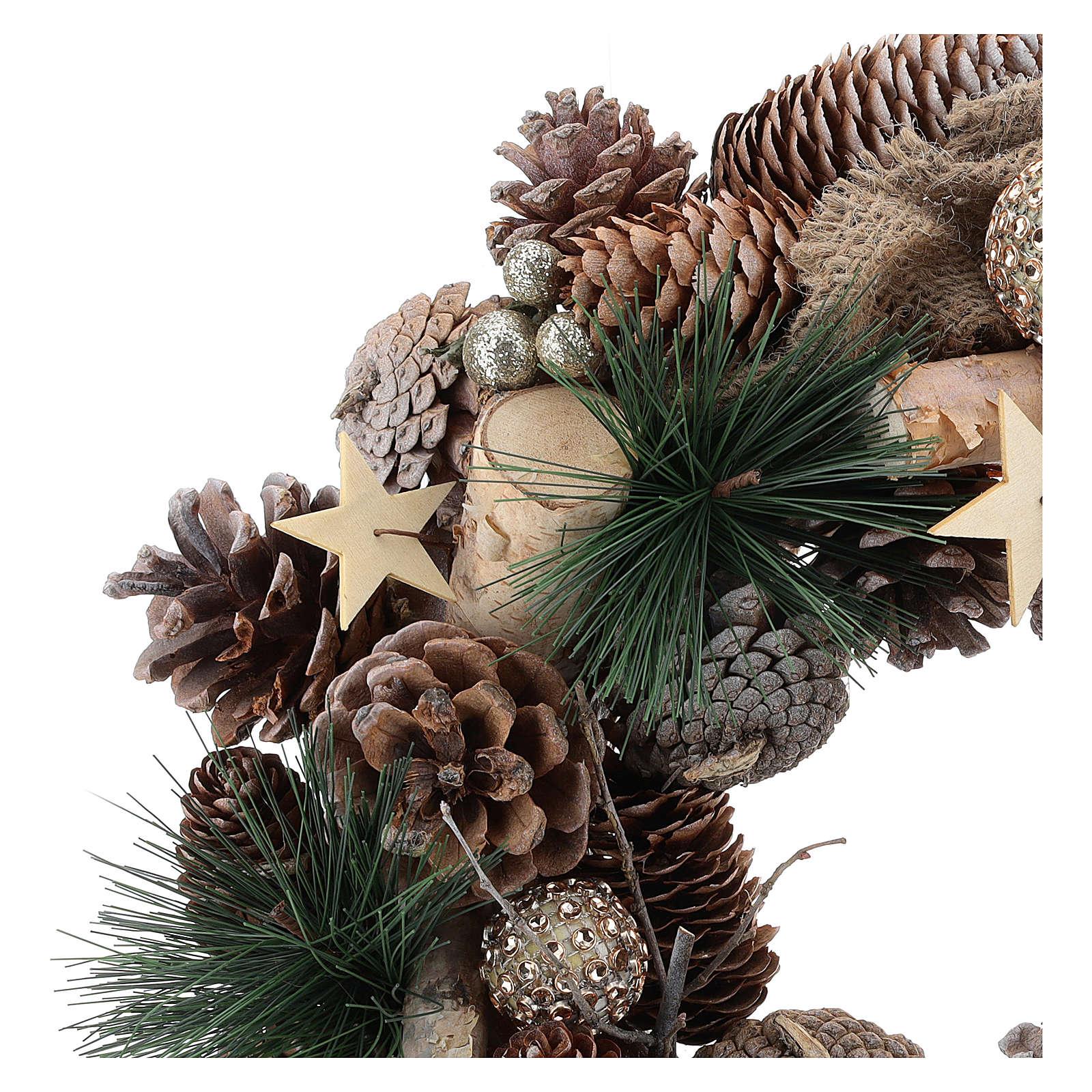 Guirnalda navideña purpurina oro y estrellas 32 cm 3