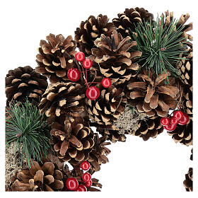 Advent wreath with pine cones and 4 red candles 32 cm s2