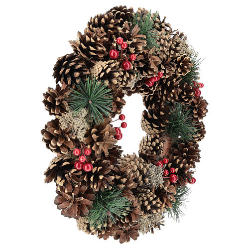 Advent wreath with pine cones and 4 red candles 32 cm 4