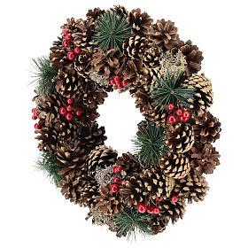 Guirnalda decorada Navidad piñas bayas rojas 32 cm s3