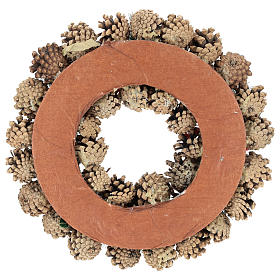 Guirnalda decorada Navidad piñas bayas rojas 32 cm s5