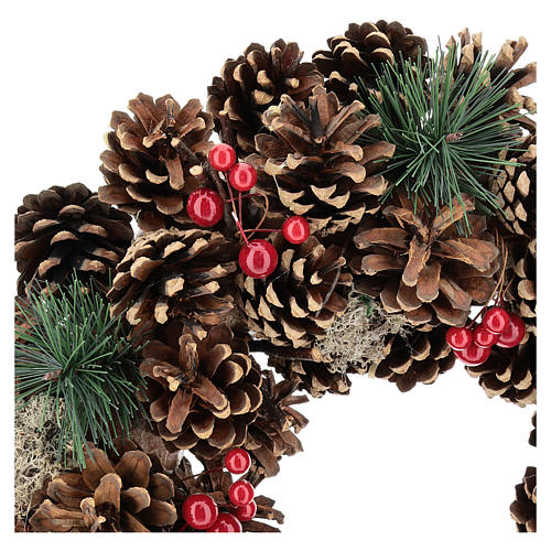 Guirnalda decorada Navidad piñas bayas rojas 32 cm 2