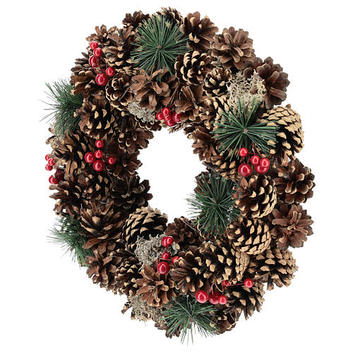 Guirnalda decorada Navidad piñas bayas rojas 32 cm 3