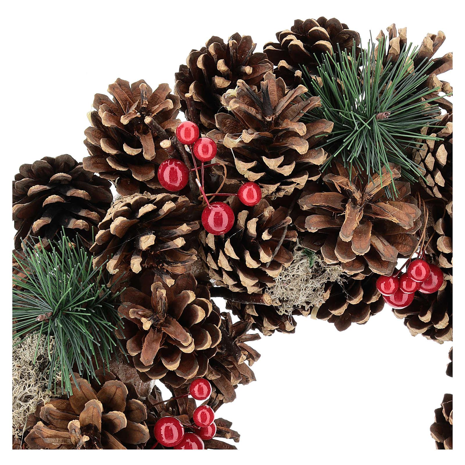 Ghirlanda decorata Natale pigne bacche rosse 32 cm 3