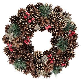 Ghirlanda decorata Natale pigne bacche rosse 32 cm s1