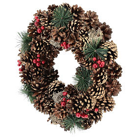 Ghirlanda decorata Natale pigne bacche rosse 32 cm s3