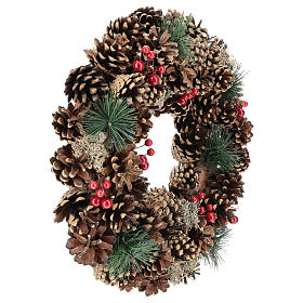 Ghirlanda decorata Natale pigne bacche rosse 32 cm s4