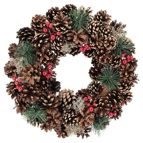 Ghirlanda decorata Natale pigne bacche rosse 32 cm 1