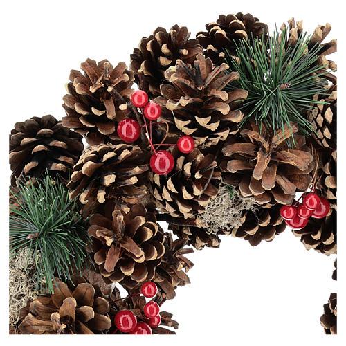 Ghirlanda decorata Natale pigne bacche rosse 32 cm 2