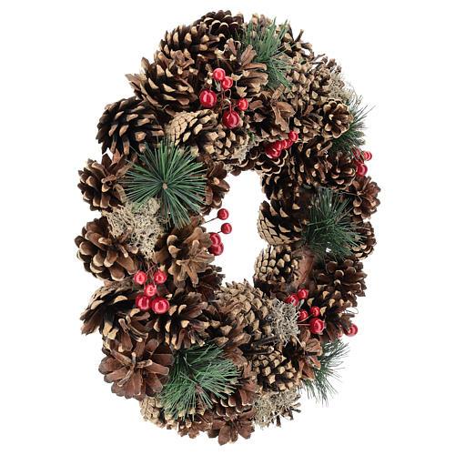 Ghirlanda decorata Natale pigne bacche rosse 32 cm 4