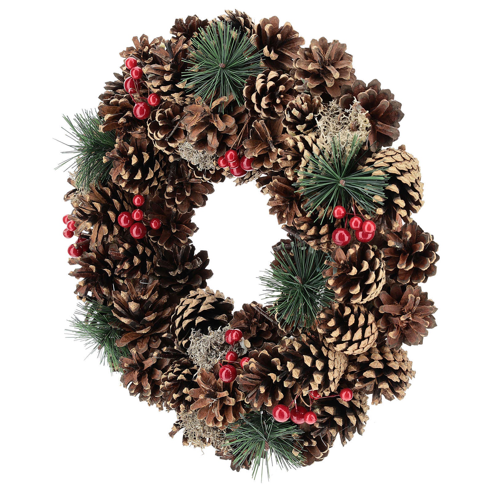 Christmas wreath with decorated pine cones red berries 32 cm 3