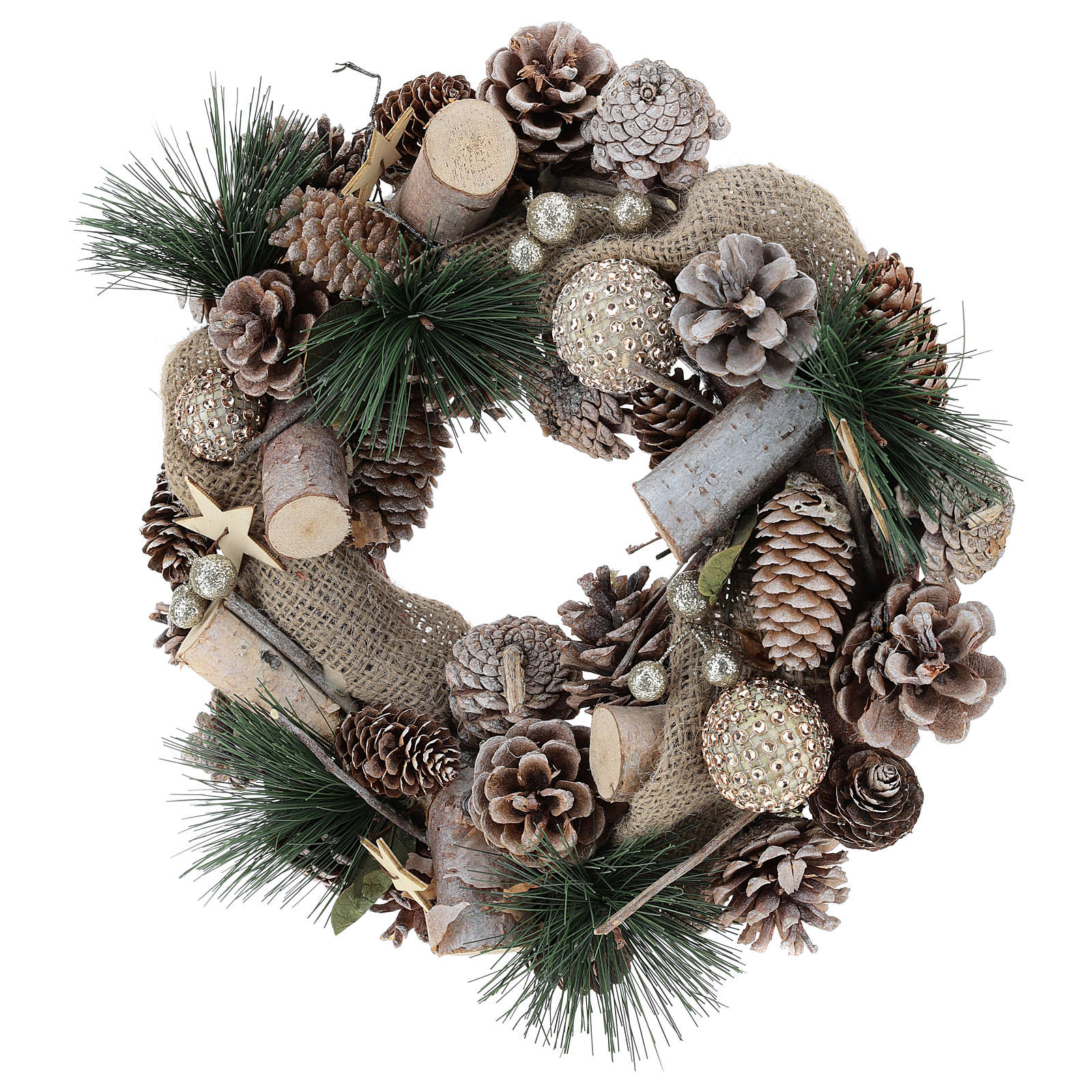 Christmas wreath with fake snow and Christmas balls diam. 32 cm 3