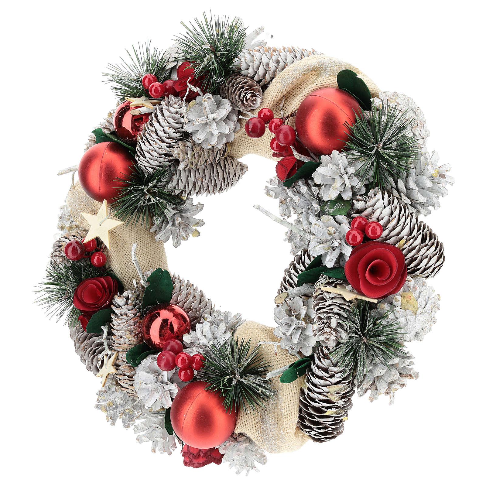 Corona navideña nieve y bolas de Navidad 32 cm 3