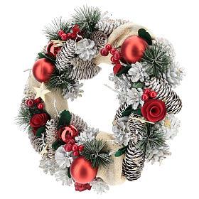 Corona navideña nieve y bolas de Navidad 32 cm s3