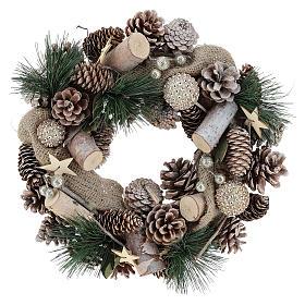 Corona navideña nieve y bolas de Navidad 32 cm s6