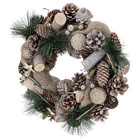 Corona navideña nieve y bolas de Navidad 32 cm s8