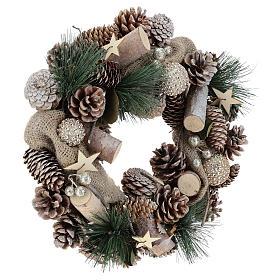 Corona navideña nieve y bolas de Navidad 32 cm s9