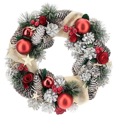 Corona navideña nieve y bolas de Navidad 32 cm 1