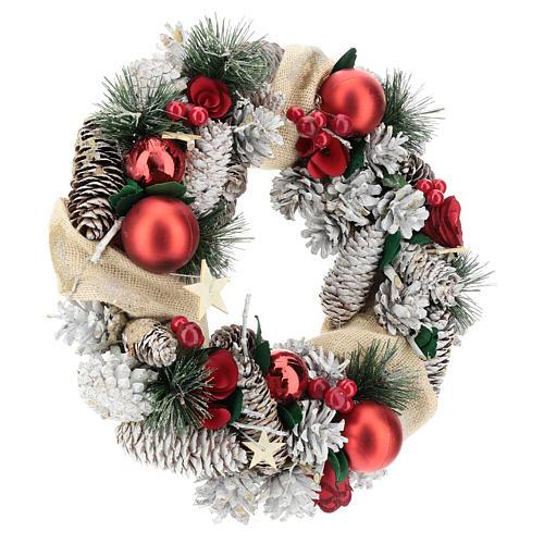 Corona navideña nieve y bolas de Navidad 32 cm 4