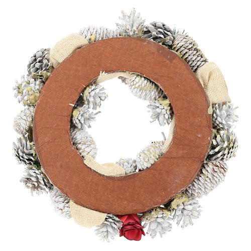 Corona navideña nieve y bolas de Navidad 32 cm 5