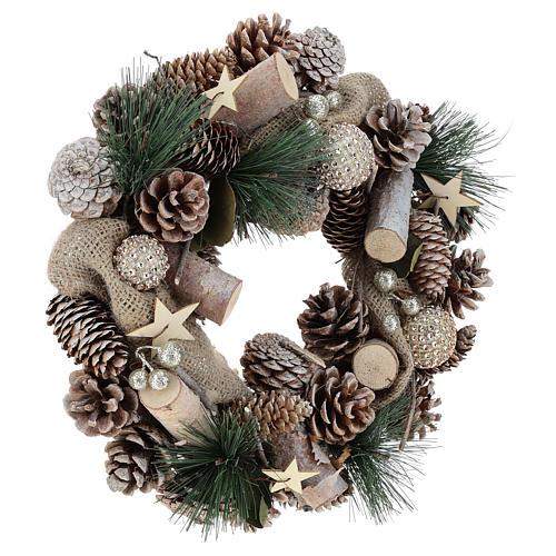 Corona navideña nieve y bolas de Navidad 32 cm 9