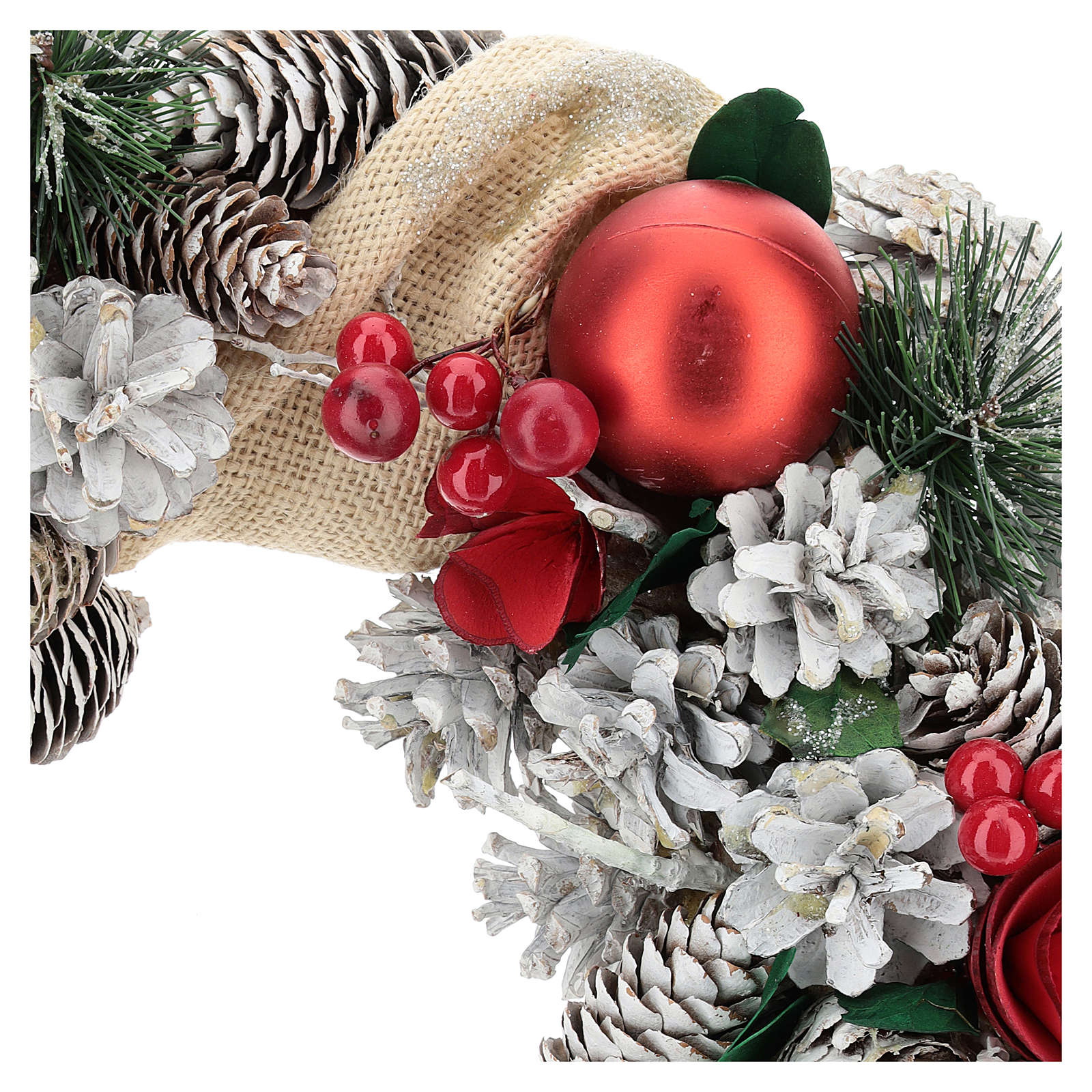 Corona natalizia neve e palline di Natale 32 cm 3