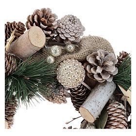 Corona natalizia neve e palline di Natale 32 cm s7