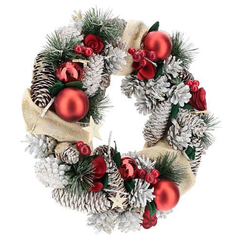 Corona natalizia neve e palline di Natale 32 cm 4