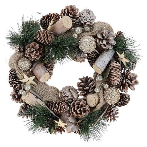 Corona natalizia neve e palline di Natale 32 cm 6