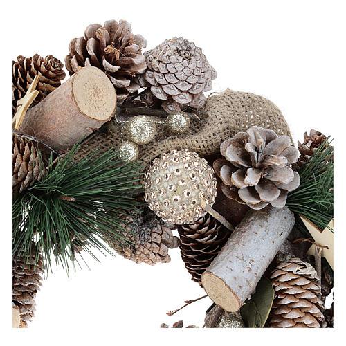 Corona natalizia neve e palline di Natale 32 cm 7