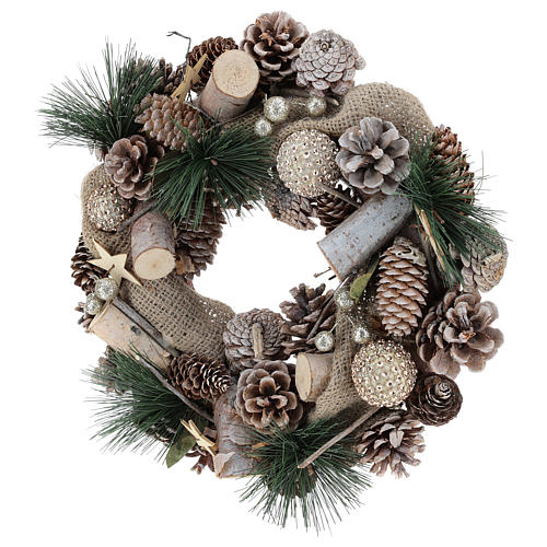 Corona natalizia neve e palline di Natale 32 cm 8