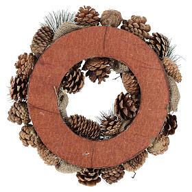 Christmas wreath snow and Christmas balls 32 cm s10