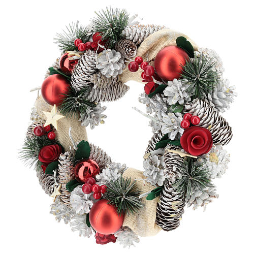 Christmas wreath snow and Christmas balls 32 cm 3
