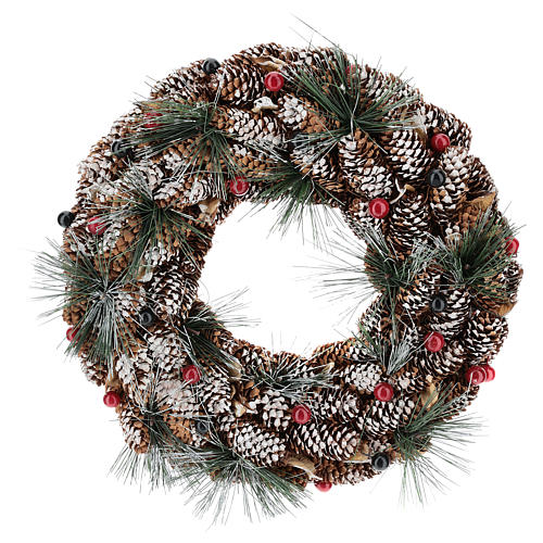 Christmas wreath with pine cones snow effect diam. 30 cm 1