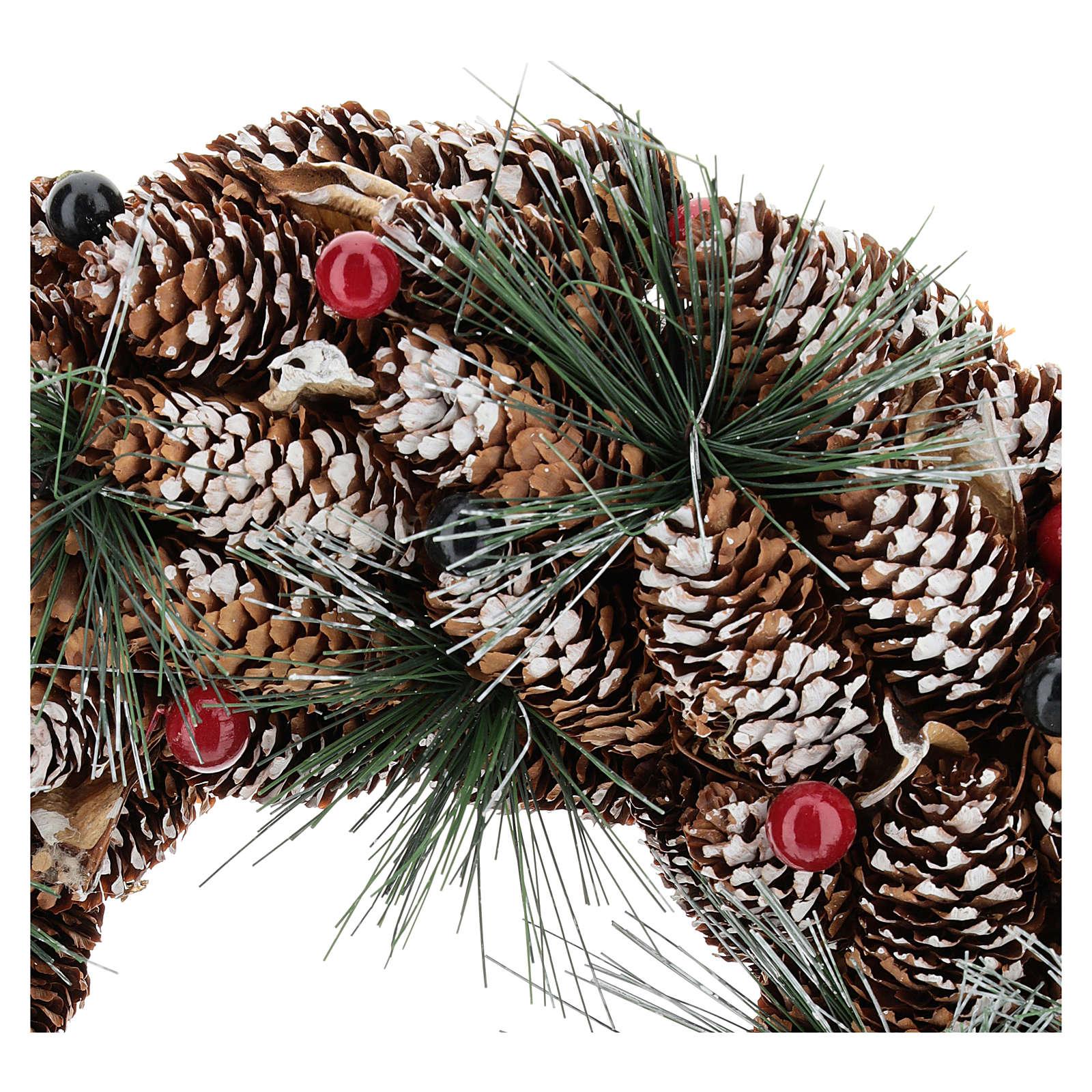 Corona decorada piñas largas efecto nieve 30 cm 3