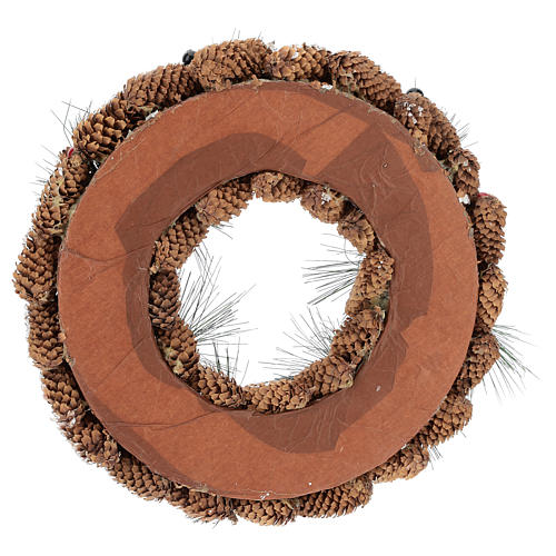 Corona decorada piñas largas efecto nieve 30 cm 5
