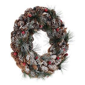 Couronne décorée pommes de pin longues effet neige 30 cm s4