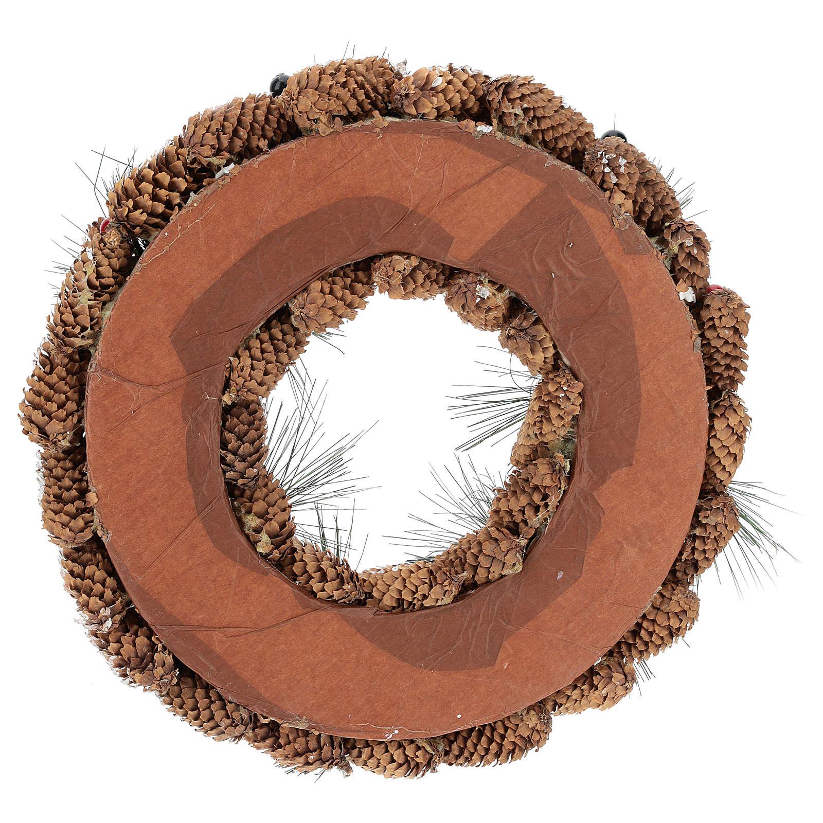 Corona decorata pigne lunghe effetto neve 30 cm 3