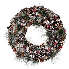 Corona decorata pigne lunghe effetto neve 30 cm s1