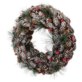 Corona decorata pigne lunghe effetto neve 30 cm s3