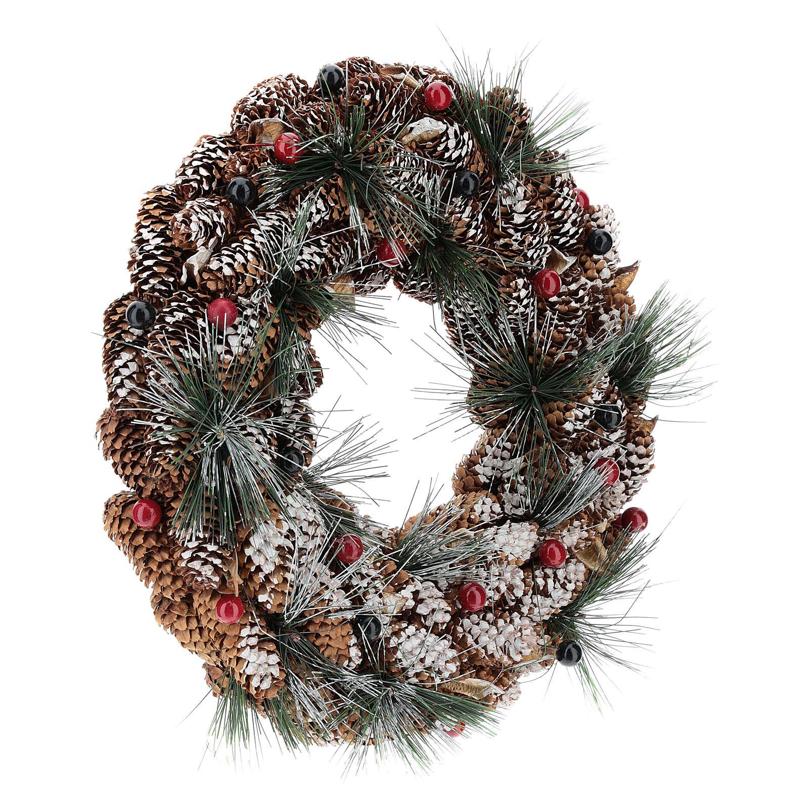 Coroa decorada pinhas compridas efeito neve 30 cm 3