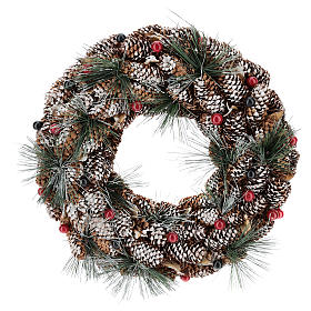 Enfeites de Natal para a Casa: Coroa decorada pinhas compridas efeito neve 30 cm