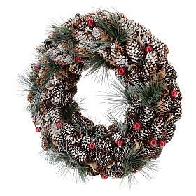 Coroa decorada pinhas compridas efeito neve 30 cm s3