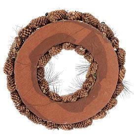 Coroa decorada pinhas compridas efeito neve 30 cm s5