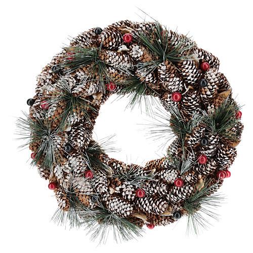 Coroa decorada pinhas compridas efeito neve 30 cm 1