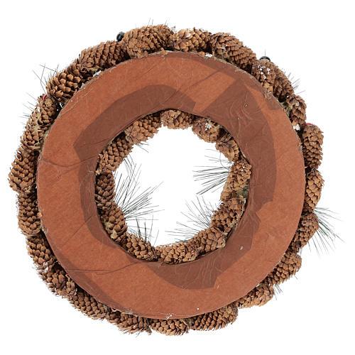 Coroa decorada pinhas compridas efeito neve 30 cm 5