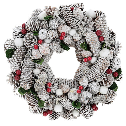 White Christmas wreath with pine cones and holly diam. 33 cm 1