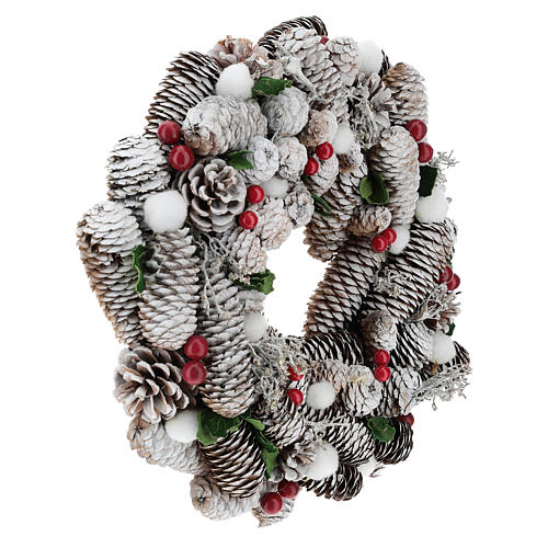 Corona de Navidad blanca piñas y acebo 33 cm 4