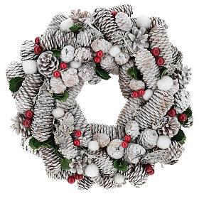 Corona di Natale bianca pigne e agrifoglio 33 cm s1